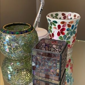 3 Crackled glass mosaic candle holders/vases.